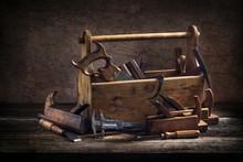Still Life - Old Wooden Tool Box