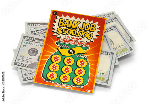 Scratch Lotto Ticket and Cash Pile плакат