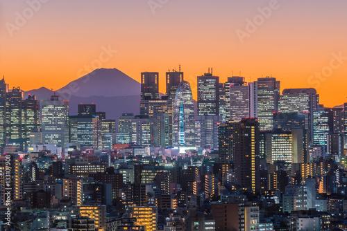 mata magnetyczna Tokyo skyline and Mountain fuji