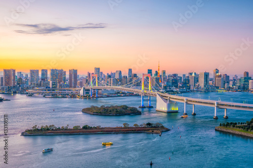 Spoed Foto op Canvas Verenigde Staten Tokyo skyline with Tokyo tower and rainbow bridge