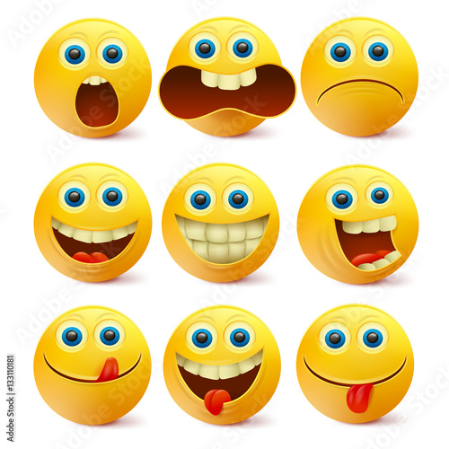 Fotografie, Obraz  Yellow smiley faces. Emoji characters template