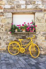 Fototapeta na wymiar The yellow bike. Soria, Castilla y León, Spain, Europe.
