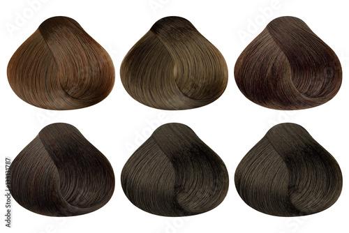 Set Of Locks Of Six Different Brown Hair Color Samples Caramel