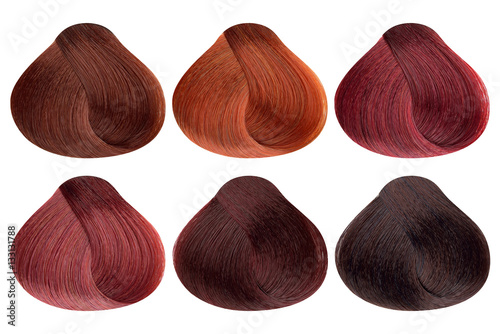 Set Of Locks Six Diffe Red Hair Color Samples Copper Shine