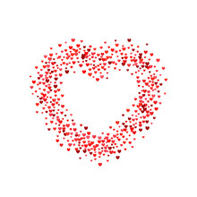 Burst From Hearts. Frame Halftone Effect. Red Dots On White Background. Red And White Sunburst Background. Abstract Dotted Surface. Retro, Vintage, Hipster Style
