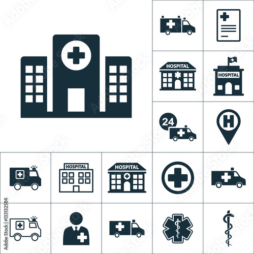 Fotografie, Obraz  hospital building front icon, medical set