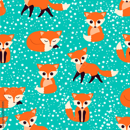 Cotton fabric Seamless pattern with cute foxes. Vector illustration.