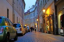 Prague, Czechia - November, 21, 2016: Night Street In A Center Of Prague