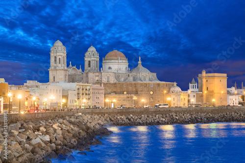 Cathedral de Cadiz in the evening