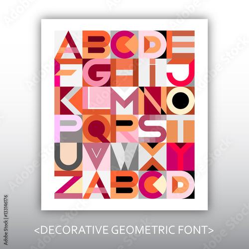Aluminium Prints Abstract Art Decorative Geometric Vector Font