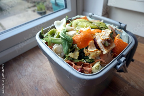 Fotografija  Container of domestic food waste, ready to be collected by the r