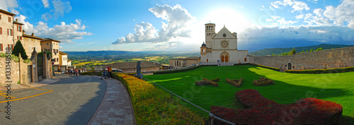Panoramic view of picturesque Italian town Assisi Canvas Print