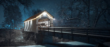 Snowy Bridge Winter Evening | ...