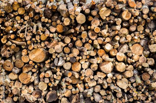 In de dag Brandhout textuur Heap of long wooden logs stacked horizontally