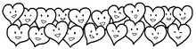 Love Hearts Valentine Black White Outline Drawing