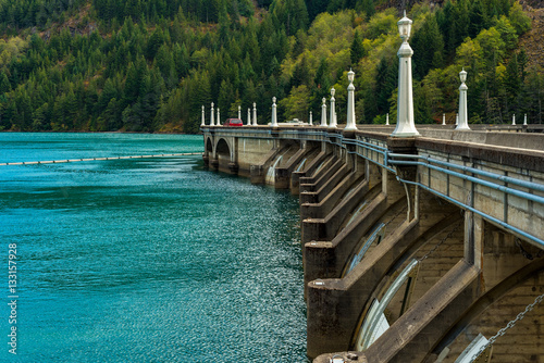 Tuinposter Dam Partial view of the roadway on top of Diablo Dam in North Cascades National Park, Washington