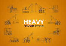 Heavy Construction Machine Line In Orange Background. Vector Mac