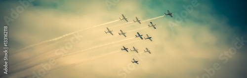 Fotografie, Obraz  Airplanes Squadron Flying High