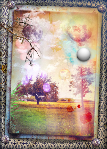 Poster Imagination Enchanted field at the sunrise
