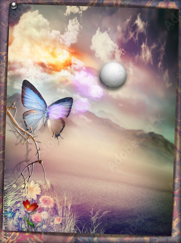 Photo sur Aluminium Imagination Oasis with full moon and butterfly - old fashioned style postcard