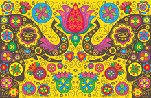 Colorful Background With Elephants. Vector Illustration. Symmetr