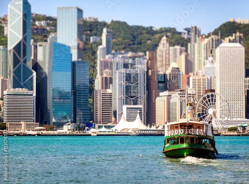 Foto auf Leinwand Hongkong Boat in the port of Hong Kong. Public transport in Hong Kong. Be