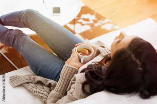Canvas Prints Relaxation Woman relaxing at home