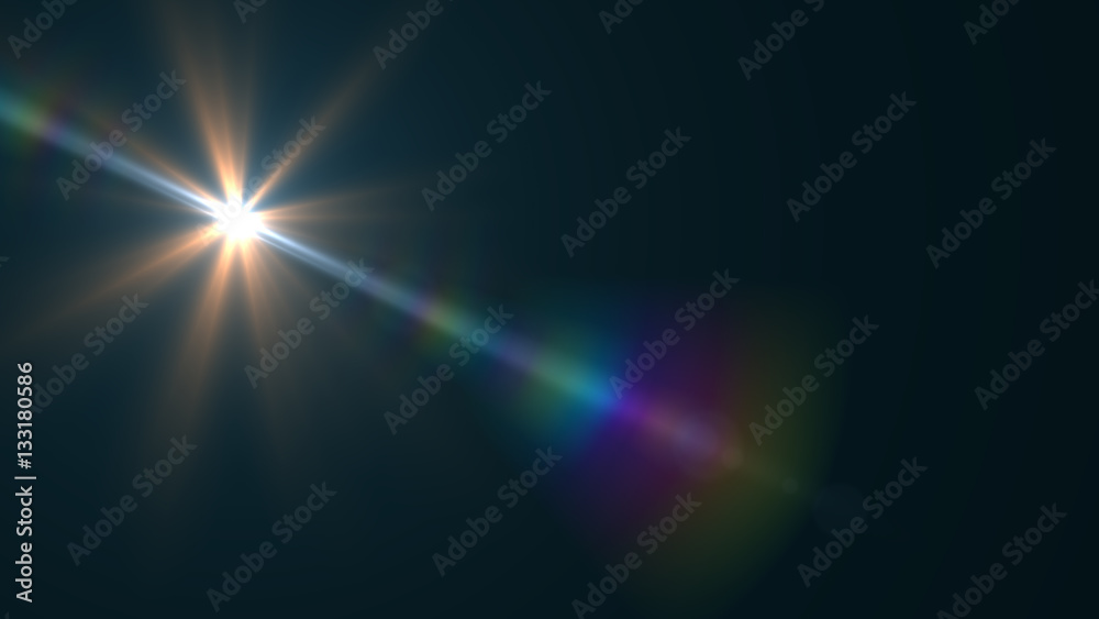 Fototapety, obrazy: Lens Flare light  over Black Background. Easy to add  overlay or screen filter over Photos