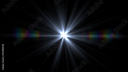 Lens Flare light  over Black Background. Easy to add  overlay or screen filter over Photos