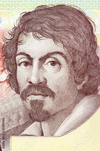Obraz na plátně Michelangelo Merisi da Caravaggio portrait from Italian money