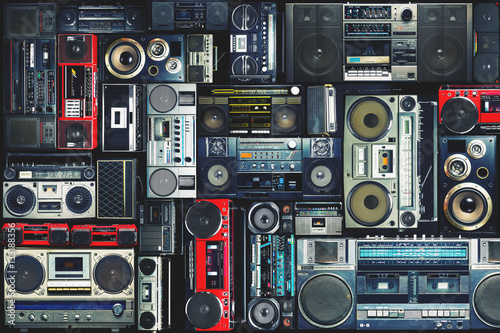 Papel de parede  Vintage wall full of radio boombox of the 80s