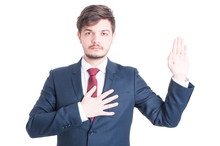 Business Man Or Politician Standing Raising Hand Taking Oath