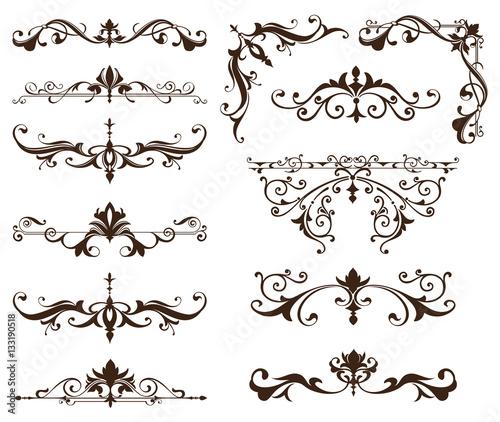 Oriental ornaments borders decorative elements with corners curls ...