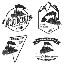 Retro Train Logo, Emblems And Icons.