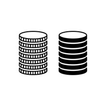 Stack Of Coins. Piled Metal Coins With Different Edges. Vector Illustration