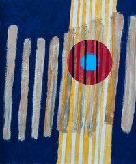 FototapetaAn abstract painting; roughly painted vertical bars and red torus