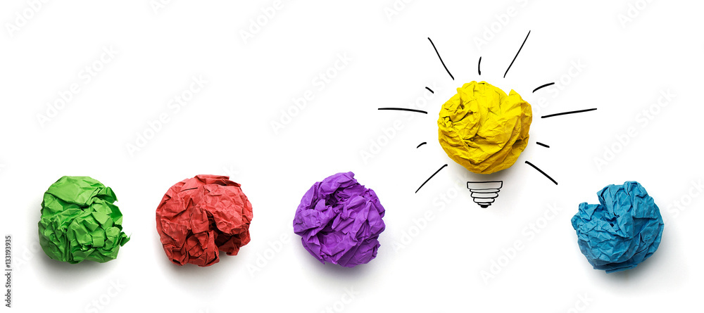 Fototapety, obrazy: Great idea concept. Crumpled paper as a lightbulb isolated on white
