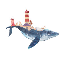 Watercolor Creative Whale Poster. Hand Painted Fantasy Blue Sea Whale With Lighthouses, Plants, Wheel, Old Boat, Stones Isolated On White Background. Vintage Style Nautical Art