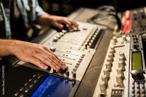 Fotografie, Obraz  man using mixing console in music recording studio