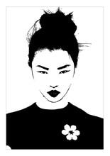 Draw Black White Japanese Girl Geisha