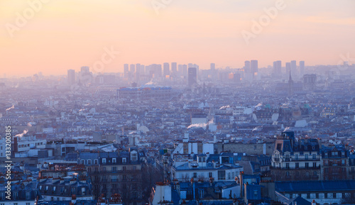 Papiers peints Paris Sunset view of beautiful city of Paris from Montmartre, France