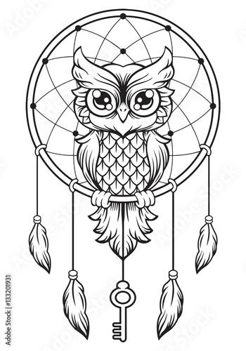 dreamcatcher  owl mandala draw buy  stock vector