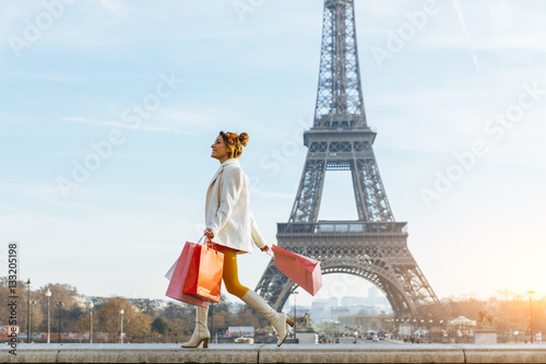 Young woman doing shopping in Paris