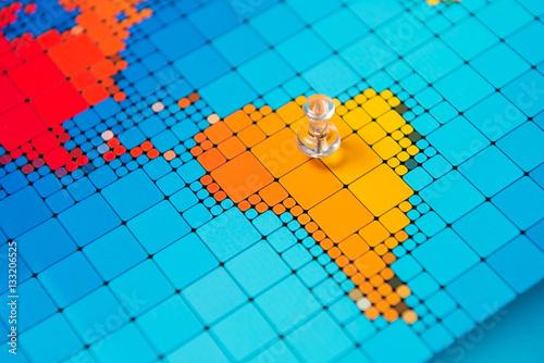 Poster de jardin Amérique du Sud Pushpins on a map of South America