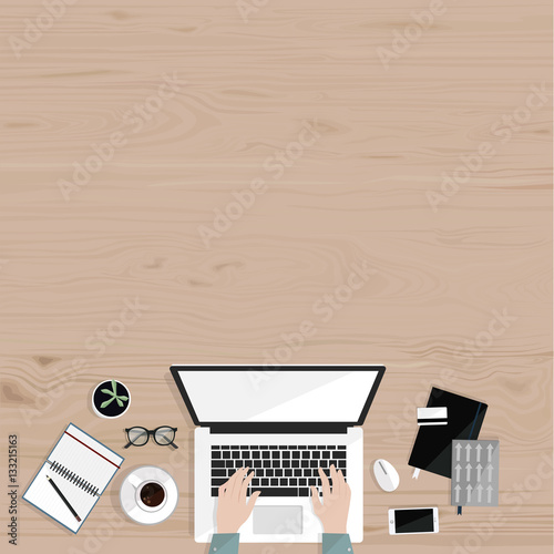 Notebooks Mobile Credit Card Gles Coffee And Freelancer S Hands Freelance Office Work Wood Background Top View Vector Flat Ilration
