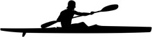Athlete Kayaker Sports Kayak Paddle Black Silhouette