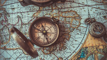 Antique Bronze Emblem Compass On A Retro World Map Vintage Style.