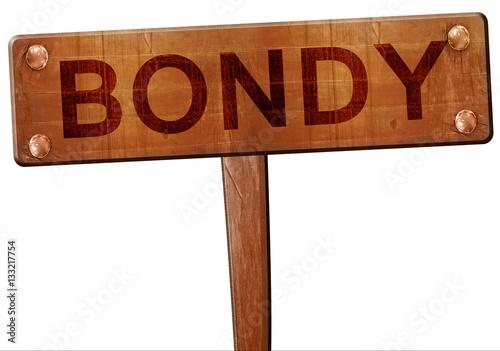 Photo bondy road sign, 3D rendering