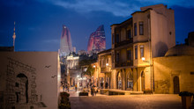 Baku, Azerbaijan - October 18, 2014: Panoramic View Of Baku, From The Old City Looking At Flame Towers At Night