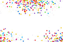 Colorful Round Confetti Frame Isolated On White Background